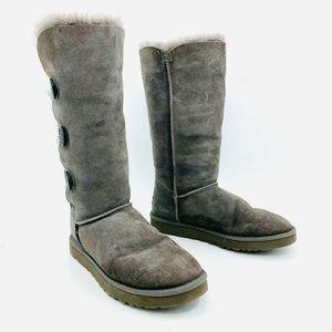 Ugg Bailey Button Triple Gray Boots Sz 10 -